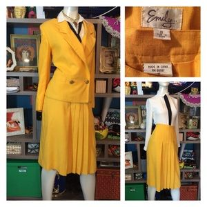 80's Yellow 2 Piece Skirt Suit Go Getter Business